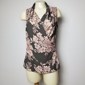 CABI PINK FLORAL CROSS-FRONT TOP SIZE SMALL